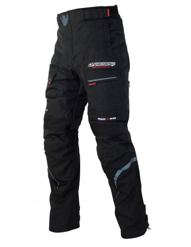 Pantalon moto CRUISE Negro, pantalon con protecciones de Polyester 600D
