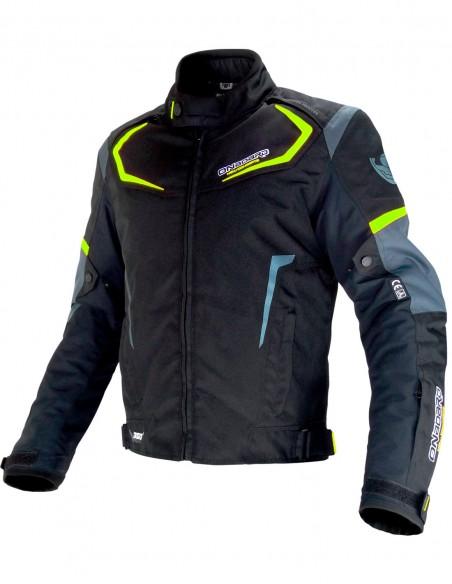 Chaqueta moto  DYNAMIC Negra/Gris/Amarillo Fluor Chaqueta con protecciones onboard