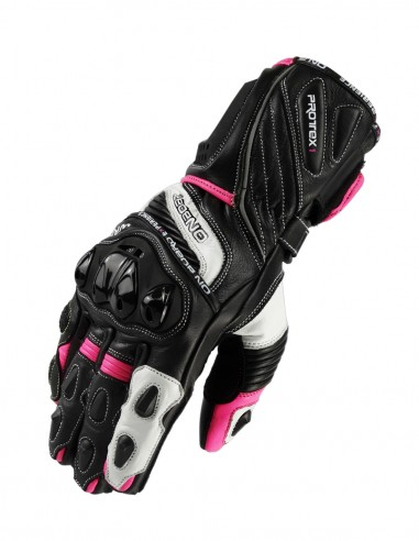 Guantes racing mujeres WRX-1 Negro/Blanco/rosa fluor