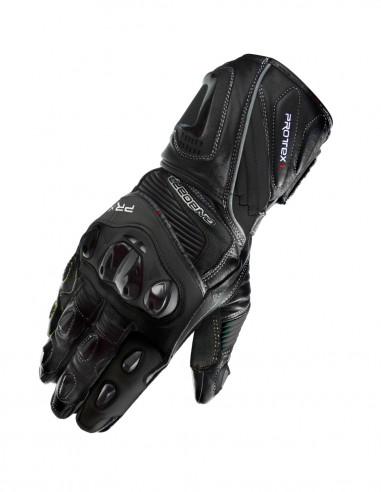 Guantes moto racing PRX-1 Negros. guantes moto circuito Homologados