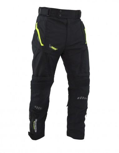 Pantalon moto con protecciones STONE 4S Negro/Fluor