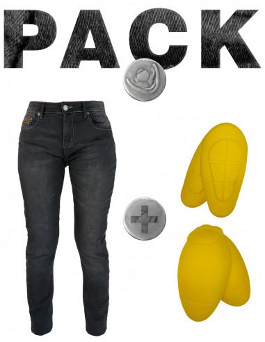 PACK Pantalón Mujer tejano con Kevlar Chic - 02 Negro con protecciones